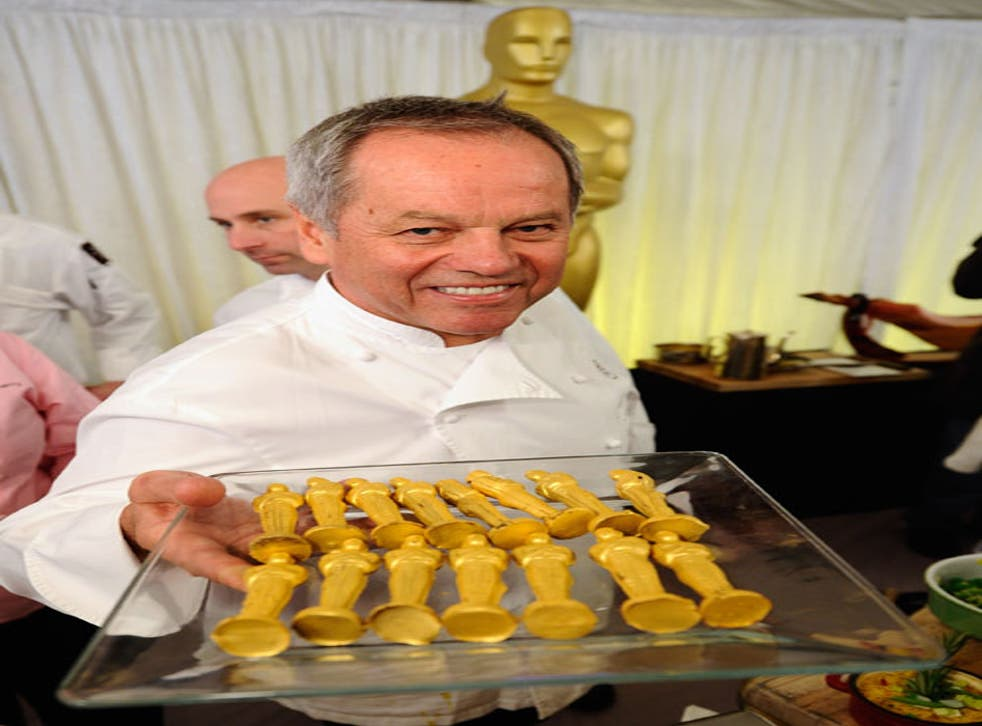 Wolfgang Puck with his chocolate Oscars