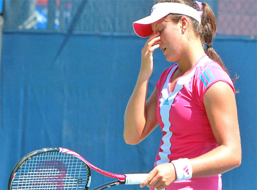 Laura Robson made 32 unforced errors in her defeat to Anabel Medina Garrigues