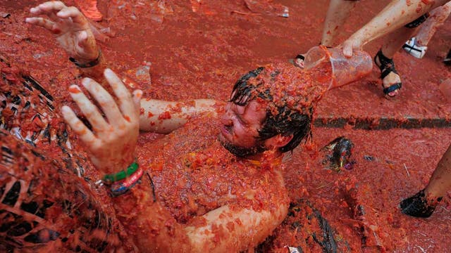 A reveller is covered in tomato pulp and juice while participating in the annual Tomatina festival on August 31, 2011 in Bunol, Spain. An estimated 35,000 people threw 120 tons of ripe tomatoes in the world's biggest tomato fight held annually in this Spanish Mediterranean town.