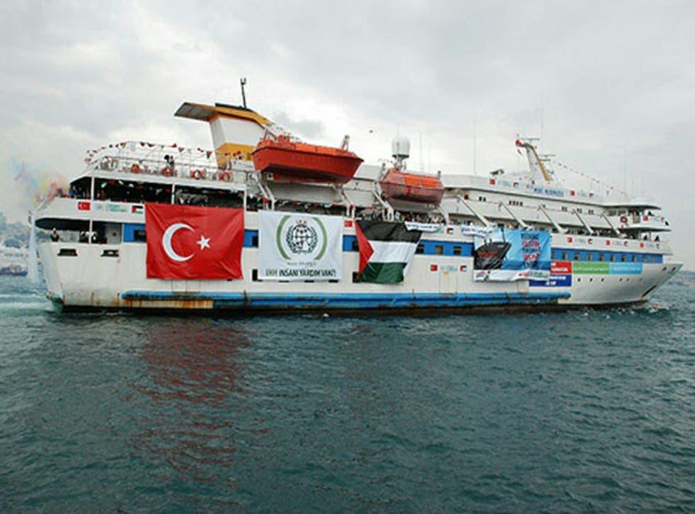 The Mavi Marmara taking part in the Freedom Flotilla to break the Gaza blockade