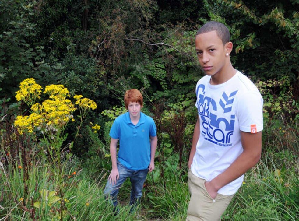 Jordan Ellis (right) and Joe Shutt on the site of Joe's accident in Blackwood