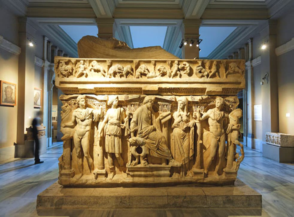The Sidamara Sarcophagus, without the marble head, in Istanbul's Museum of Archaeology