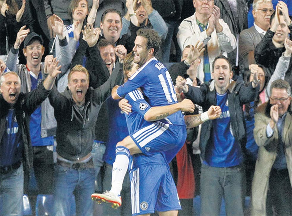Juan Mata is congratulated by Chelsea team-mate Fernando Torres after scoring against Bayer Leverkusen on Tuesday
