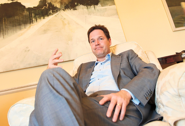 Nick Clegg in his office in Whitehall as the Lib Dem conference approaches