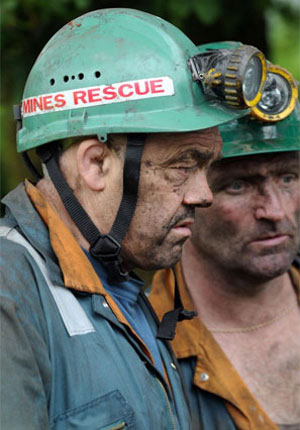 Rescue workers at the Gleision Colliery