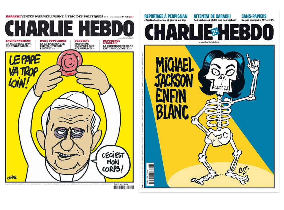 Charlie Hebdo has a reputation for trenchant humour across all subjects in the news, as illustrated by these covers