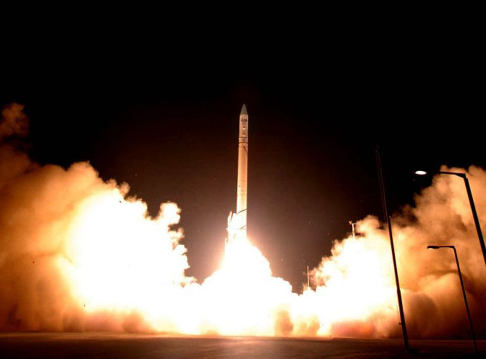 A rocket carrying a satellite used to keep track of Iran's nuclear programmes is launched from the Palmachim airbase, near Tel Aviv