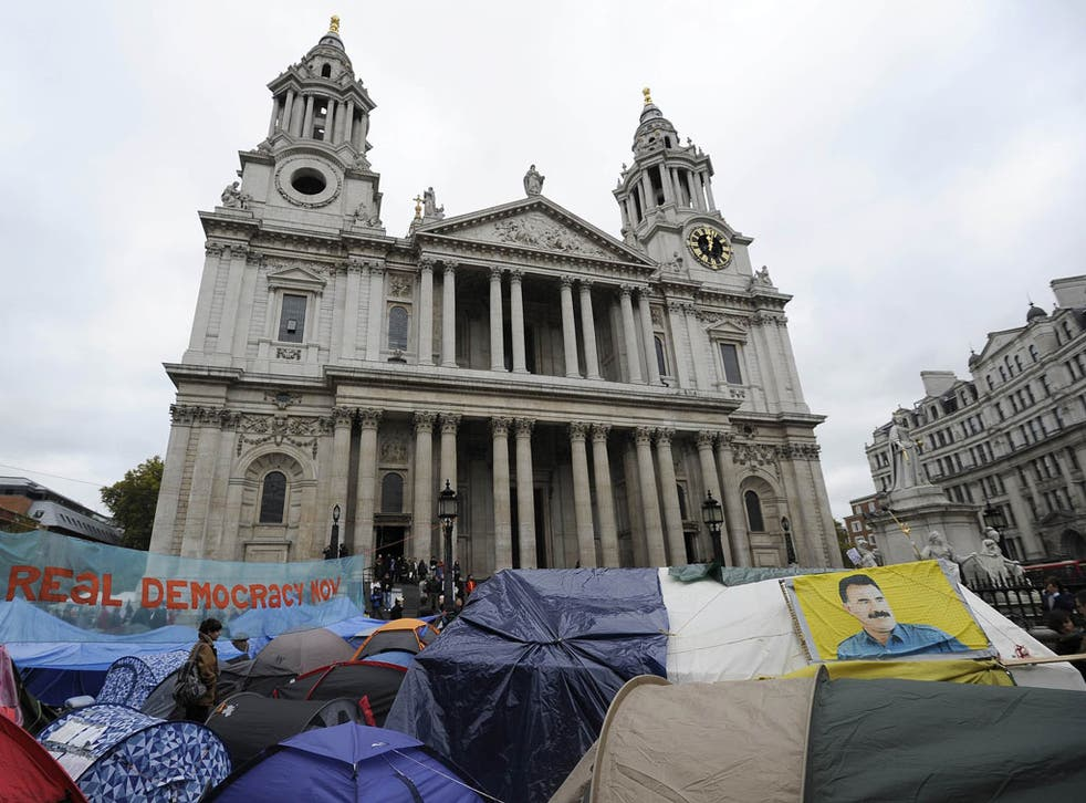 The Occupy protesters still in situ at St Paul's yesterday