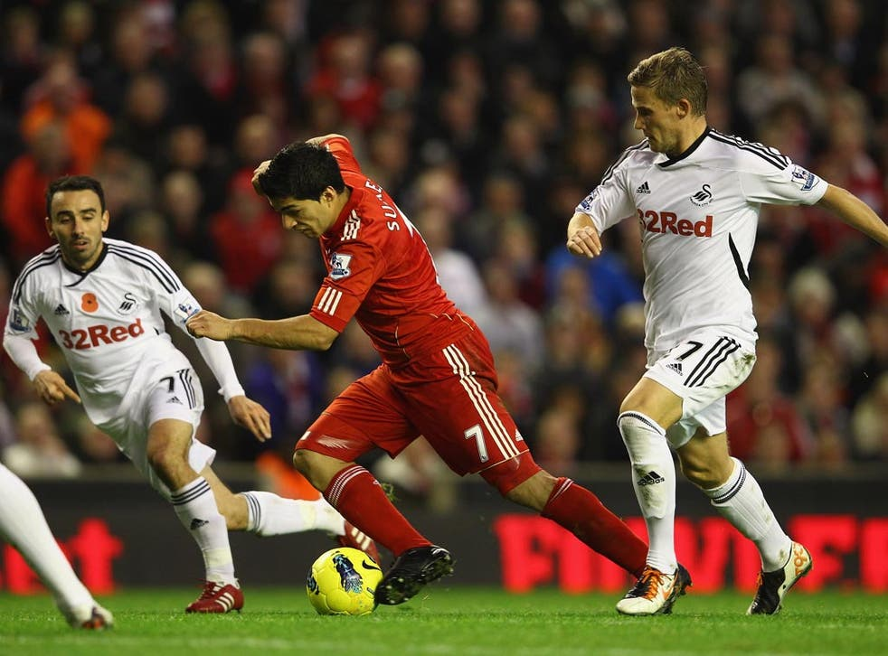 Luis Suarez and his Liverpool team-mates were unable to break the Swansea defence