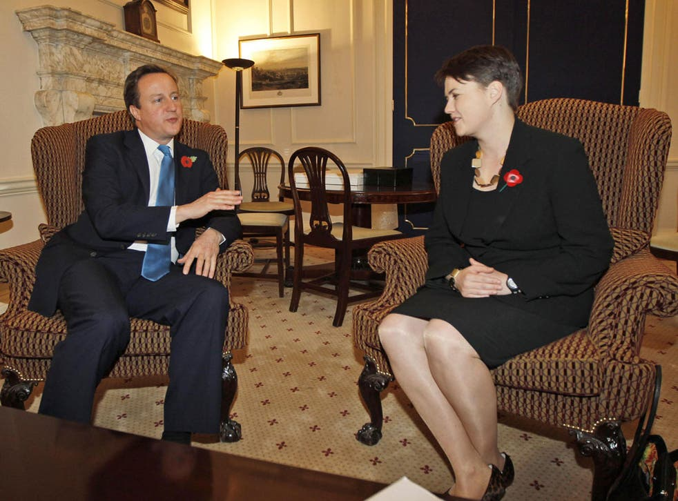 Prime Minister David Cameron meets Ruth Davidson, the leader of the Scottish Tories, at Downing Street