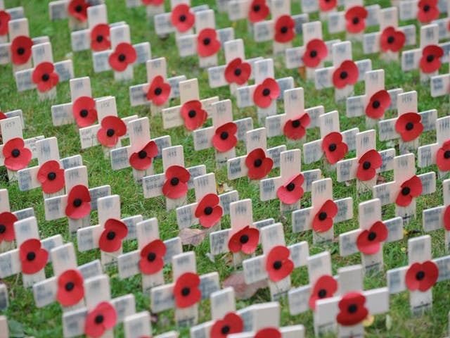 <p>Poppies and crosses in the Field of Remembrance next to the War Memorial at All Saints Church, Northampton</p>