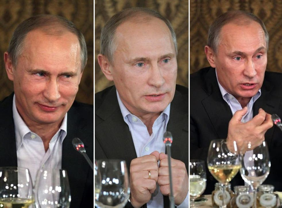 Looking tired and 'visibly older' than his appearance at the event last year, the Russian Prime Minister, Vladimir Putin, answering questions last night.