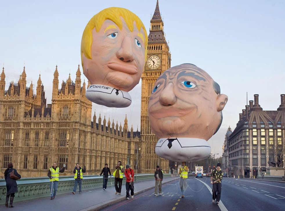 'Playground monikers for playground politicians': Giant balloons of Ken Livingstone and Boris Johnson during the 2008 mayoral elections