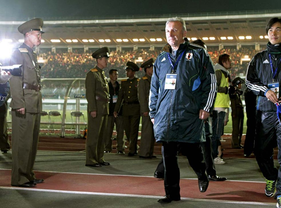 Alberto Zaccheroni pictured in Pyongyang after the defeat to North Korea