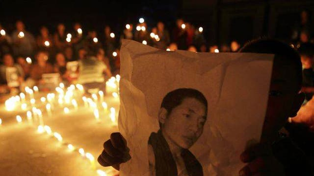 A vigil was held last month at a Tibetan refugee centre in Lalitpur, India, for Lobsang Phuntsok, a 21-year-old Tibetan monk who set himself alight in protest against Chinese repression