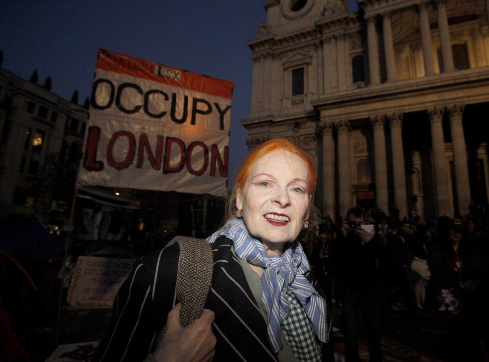 Designer Vivienne Westwood added her voice to the protests yesterday