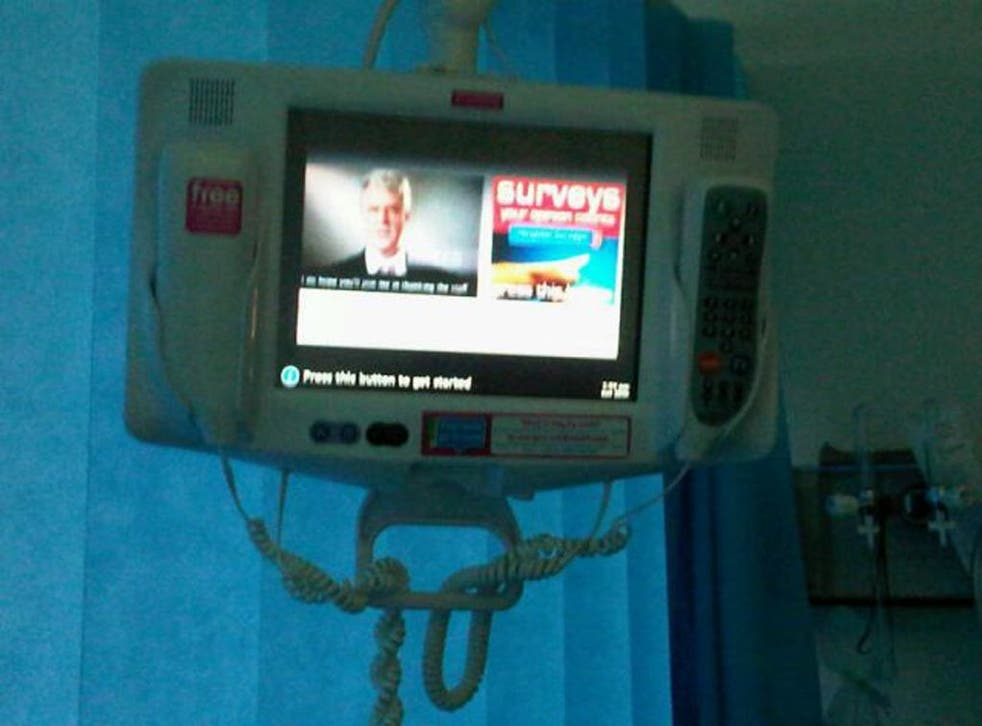 Andrew Lansley is appearing on bedside entertainment systems