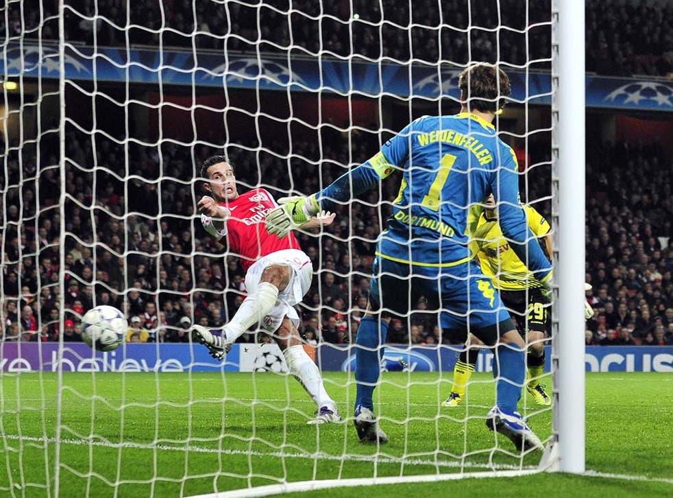 Robin van Persie scores his second of the match