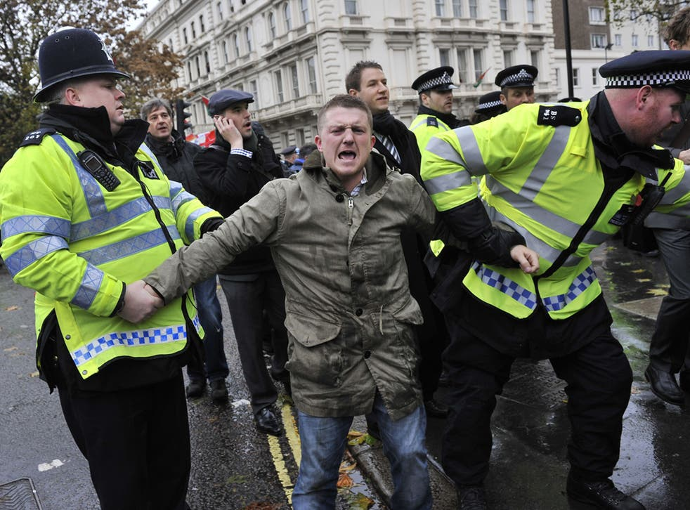 Stephen Yaxley-Lennon aka Tommy Robinson is arrested at an EDL counter-demonstration in London