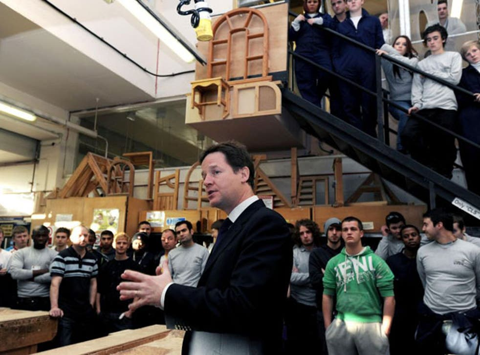 Nick Clegg has pledged to create hundreds of thousands of work placements for young people