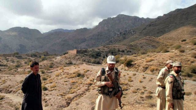 Pakistani soldiers patrolling near the Afghan border in Mohmand tribal region.