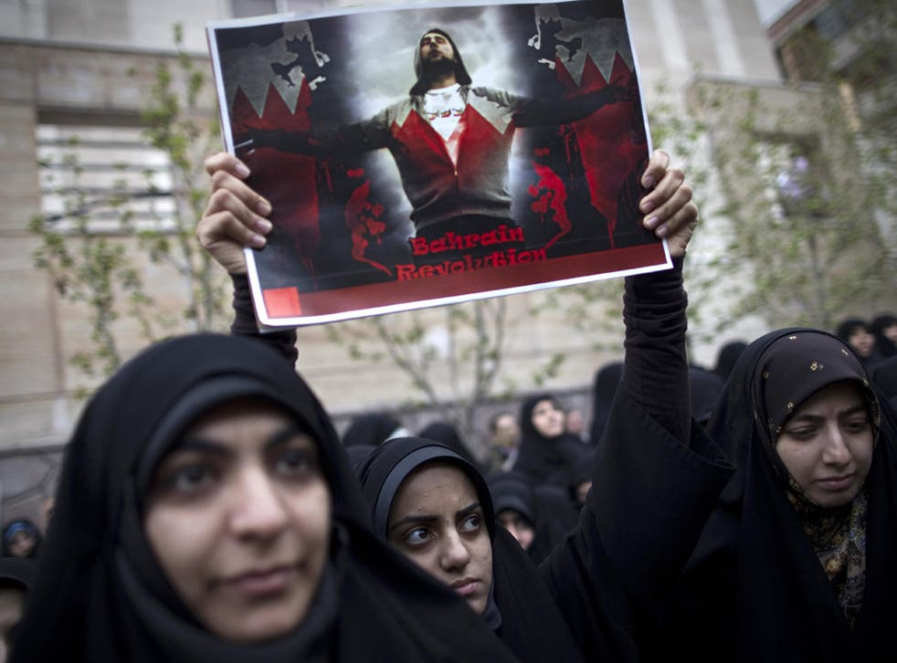 Iranians show support, last April, for Bahrain's Shia protesters outside the Saudi Arabian embassy in Tehran