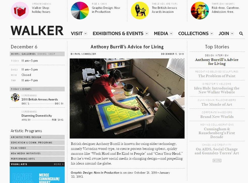 The Walker site mimics an arts magazine