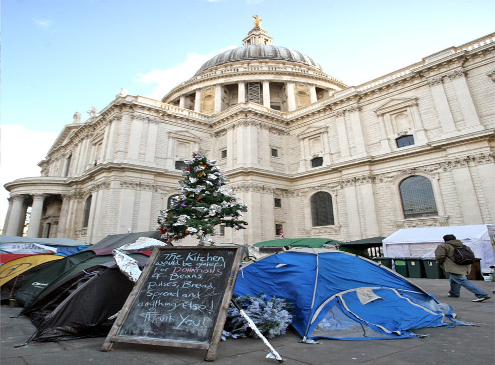 The Occupy London camp outside St Paul's Cathedral