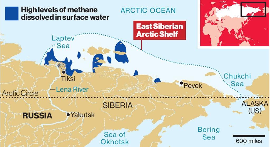 Vast Methane Plumes Seen In Arctic Ocean As Sea Ice Retreats - Lena river on world map