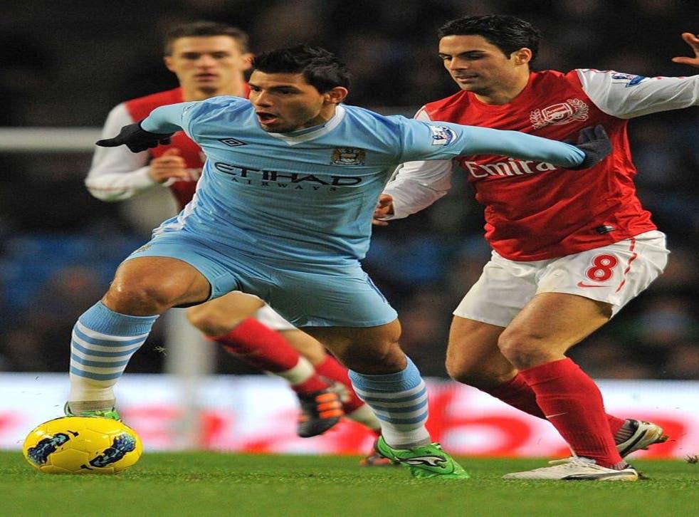 <p>City's stars, particularly Sergio Aguero (centre) and Silva, threatened to run wild</p>