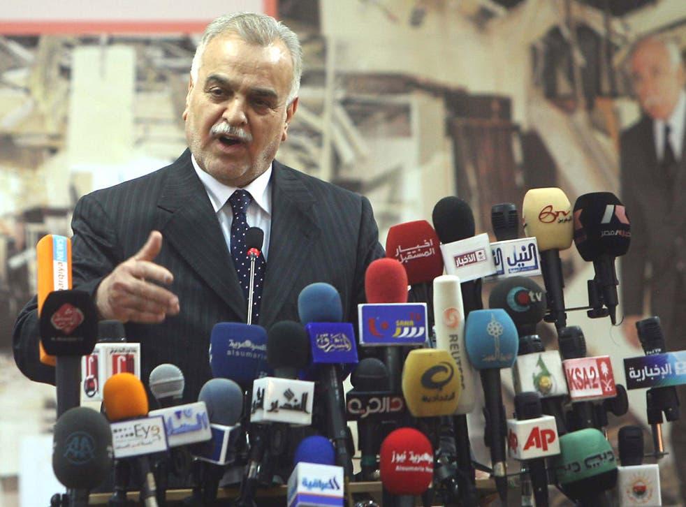 <p>The Iraqi Vice-President Tareq al-Hashemi; and below, Nouri al-Maliki</p>