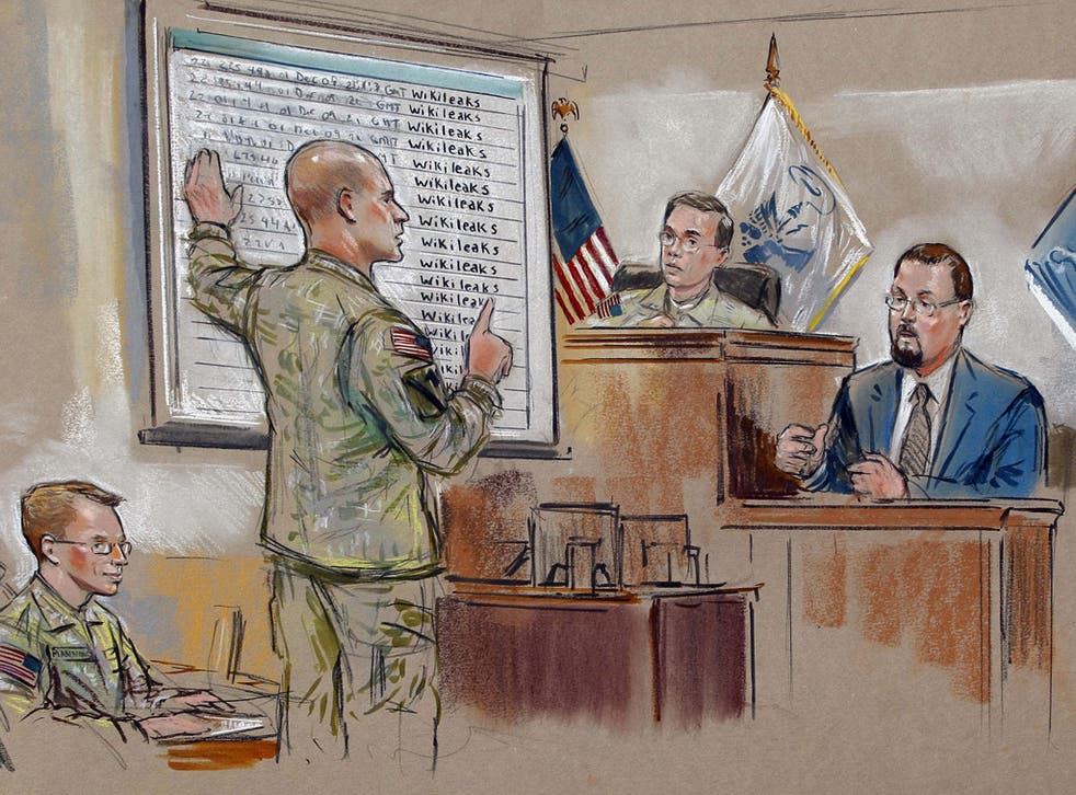 <p>Private Bradley Manning, left, sees the prosecution point to 'secret files'</p>