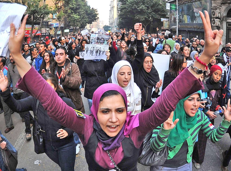 Egyptian women in Cairo protest against the army's use of violence against female protesters