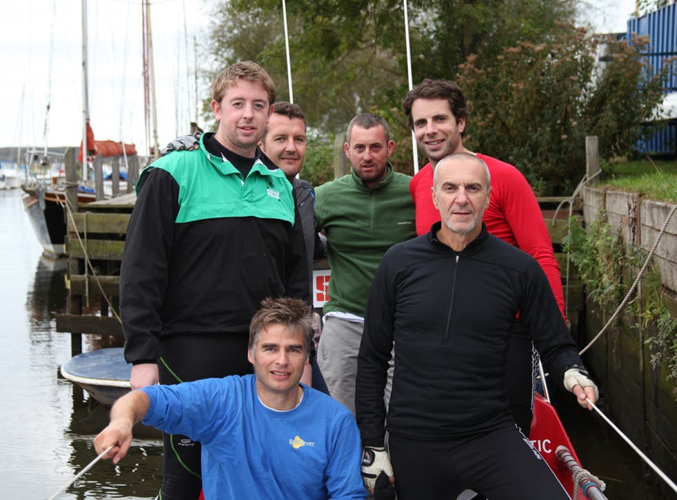 The crew of the 'Sara G', with Mark Beaumont, top right