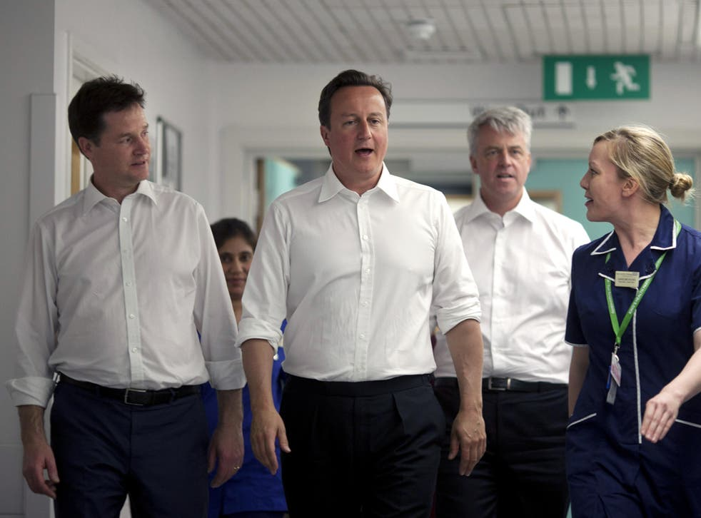 Nick Clegg, David Cameron and Health Secretary Andrew Lansley at Guy's Hospital before the proposed reforms