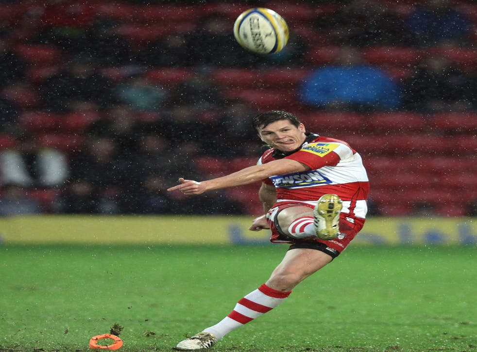 Gloucester's Freddie Burns launches a kick at goal against Saracens