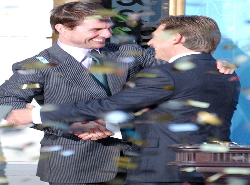 Scientology leader David Miscavige, right, with actor Tom Cruise, a leading supporter, at the opening of a Scientology church in 2004