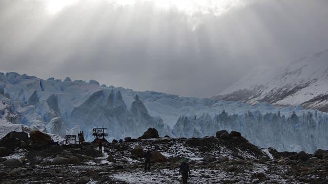 Tip of the iceberg: Hikers pass Patagonia's Morena Glacier
