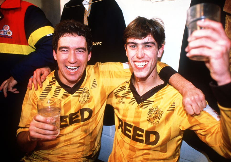 suttons tony rains and matt hanlon celebrate their fa cup victory over coventry in 1989