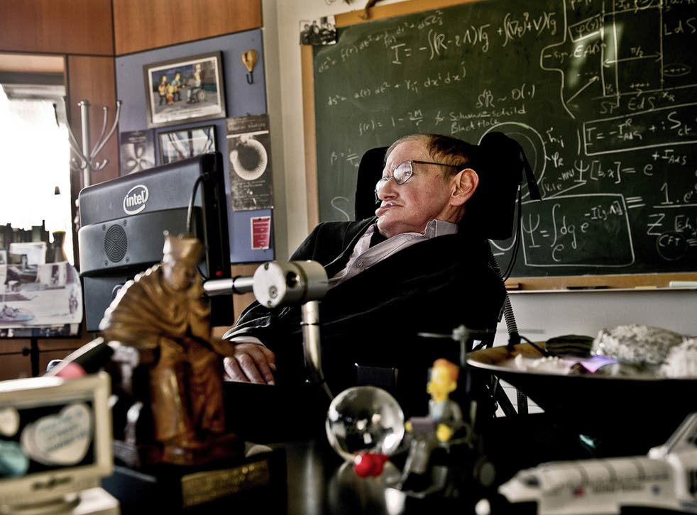Professor Stephen Hawking in his office at the Department of Applied Mathematics and Theoretical Physics at Cambridge University