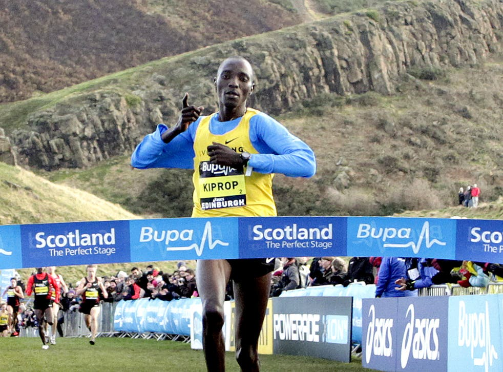 Kenya's Asbel Kiprop crosses the finish line to win the Great Edinburgh Cross Country Challenge 3km race at Holyrood yesterday