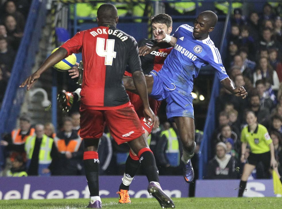 Ramires scores Chelsea's second goal against Portsmouth at Stamford Bridge yesterday