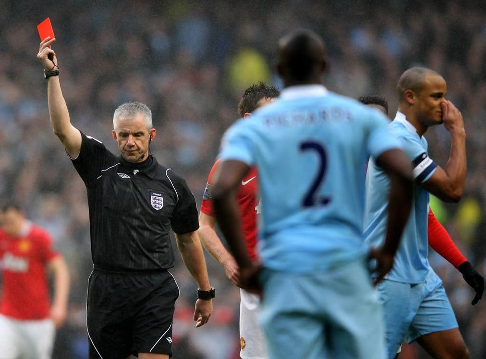 Vincent Kompany was shown a straight red card