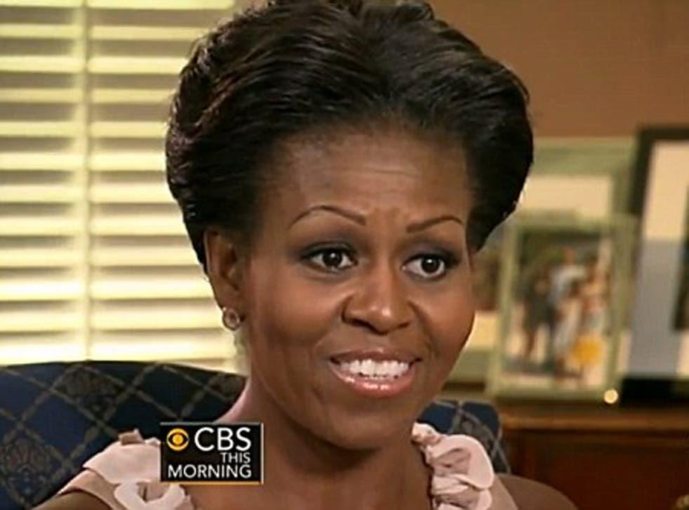 Michelle Obama being interviewed on CBS