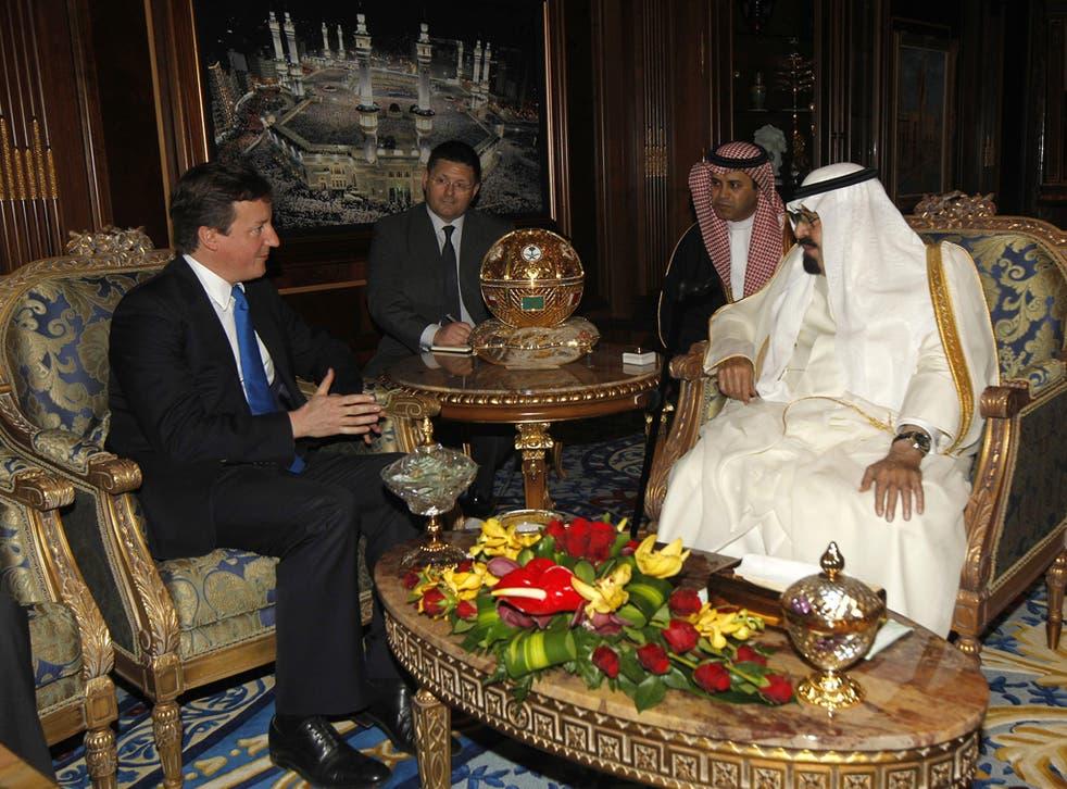David Cameron met Saudi Arabia's King Abdullah in Riyadh in 2012