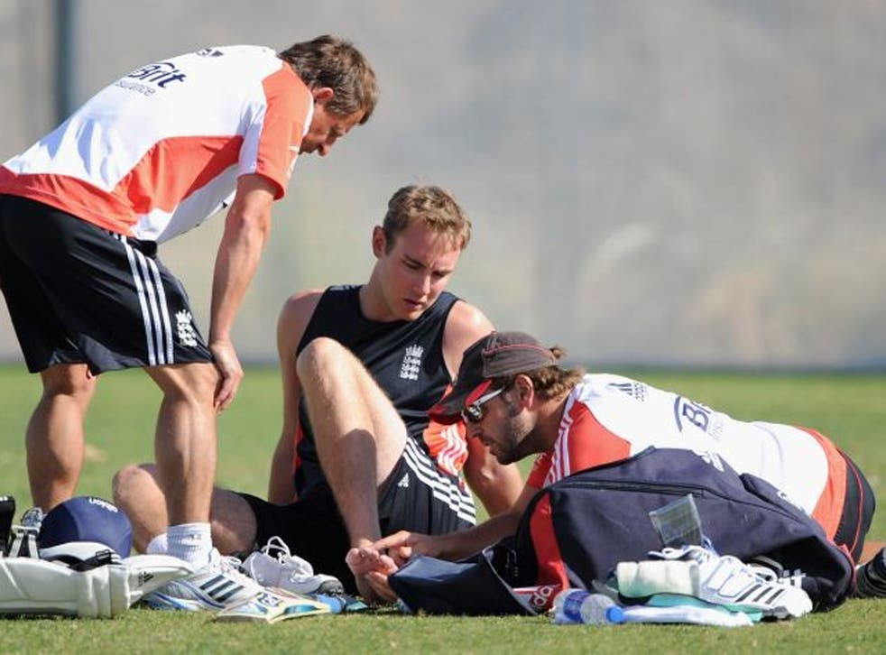 England's Stuart Broad has treatment after being hit on the foot in the nets ahead of tomorrow's first Test against Pakistan