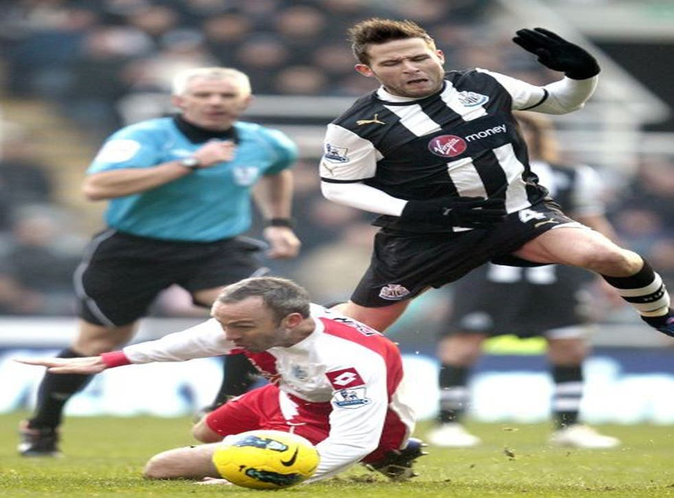 Shaun Derry's challenge ends Yohan Cabaye's afternoon under the eye of referee Chris Foy