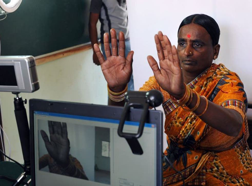 A woman undergoes the data collection process for the identity project