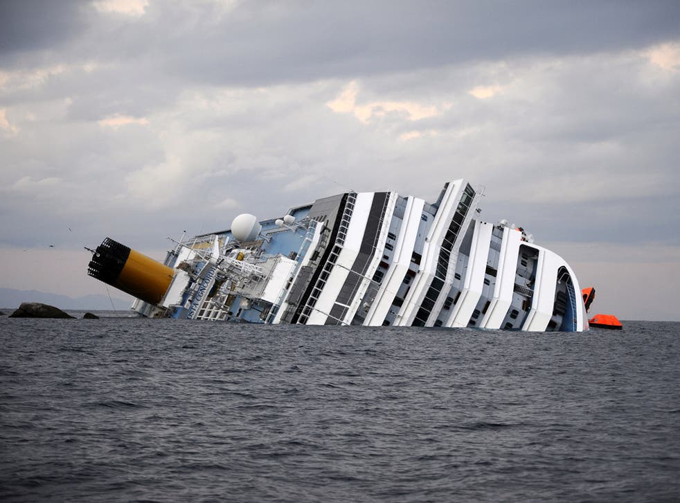 The Costa Concordia which struck rocks on the Tuscan coast
