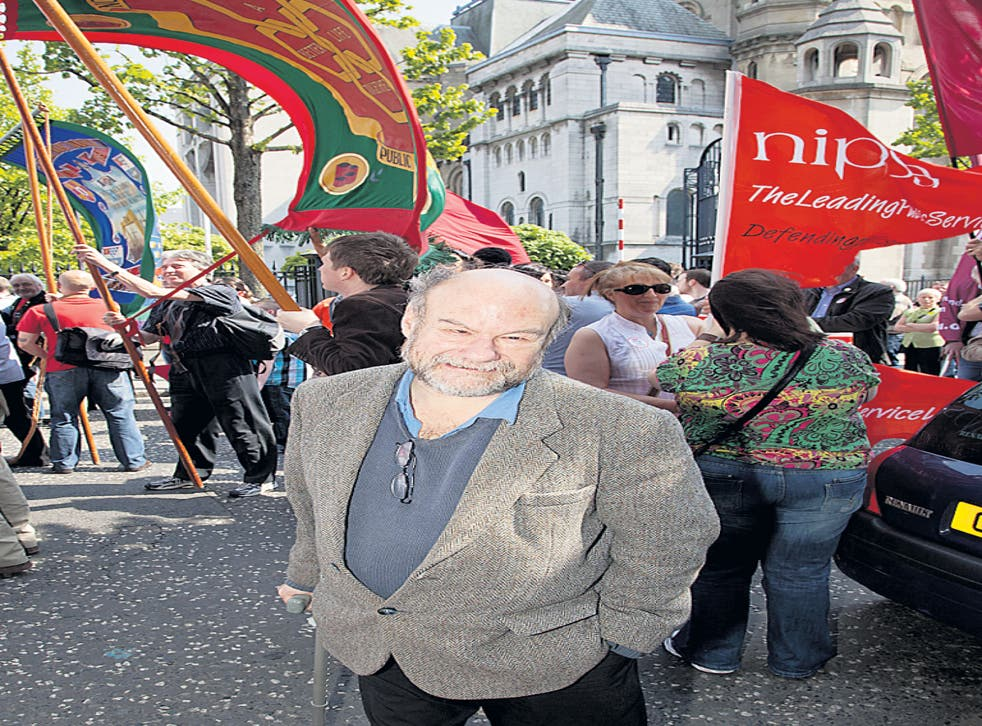 Stephenson at the May Day March in Belfast city centre last year